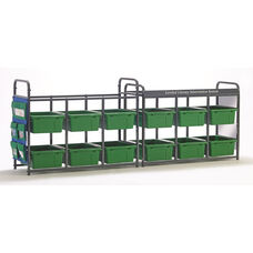 Storage Room Organizer for Leveled Literacy Program with 12 Open Tubs - Green