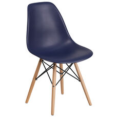 Elon Series Navy Plastic Chair with Wood Base
