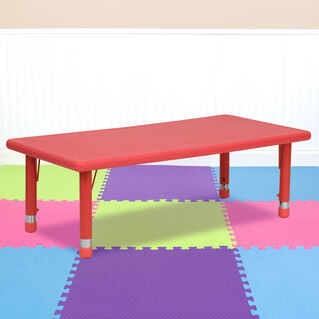 24''W x 48''L Rectangular Red Plastic Height Adjustable Activity Table
