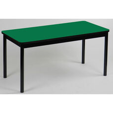 High Pressure Laminate Rectangular Library Table with Black Base and T-Mold - Green Top - 24