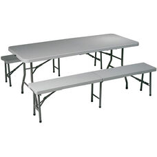 Work Smart Indoor or Outdoor Use 3-Piece Folding Table and Bench Set