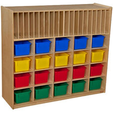 Wooden Multi-Storage Unit with 20 Assorted Plastic Storage Trays - 48
