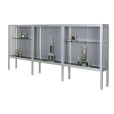 Premiere Series Freestanding 3 Door Display Case with Aluminum Legs - 144