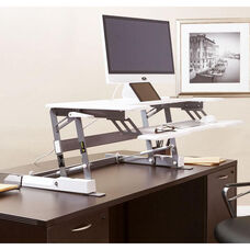 OSP Furniture Multiposition Desk Riser with Dual Lift - White