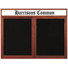 2 Door Enclosed Changeable Letter Board with Header and Cherry Finish - 48