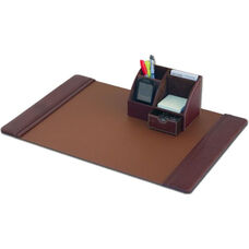 Classic Leather 2 Piece Desktop Organizer Desk Set - Mocha