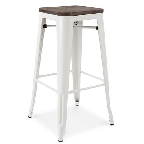 Our Dreux Glossy White Stackable Steel Barstool with Elm Wood Seat - Set of 4 is on sale now.