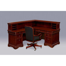 Rue De Lyon Left Reception Desk with File/File Return - Ruby Cabernet