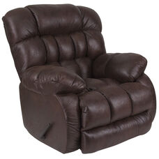Contemporary Breathable Comfort Nevada Chocolate Fabric Rocker Recliner