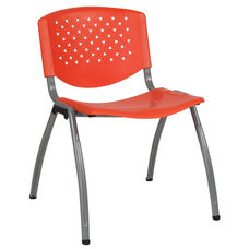 HERCULES Series 880 lb. Capacity Orange Plastic Stack Chair with Titanium Frame