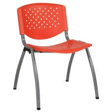 HERCULES Series 880 lb. Capacity Orange Plastic Stack Chair with Titanium Frame