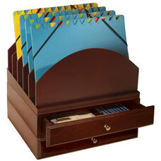 Bindertek Wood Stacking Desktop Organizer with Step Up File and 2 Drawers - Mahogany