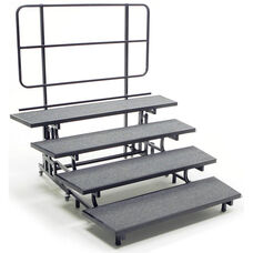 4 Tier Mobile E - Z Riser with Built - In Back Rail and Heavy Duty Casters - 78