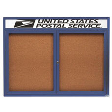 2 Door Indoor Enclosed Bulletin Board with Header and Blue Powder Coated Aluminum Frame - 36