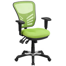 Mid-Back Green Mesh Multifunction Executive Swivel Ergonomic Office Chair with Adjustable Arms