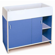 Easy to Clean Round-Edge Infant Care Changing Cabinet with Paper Roll and Easy Access Storage