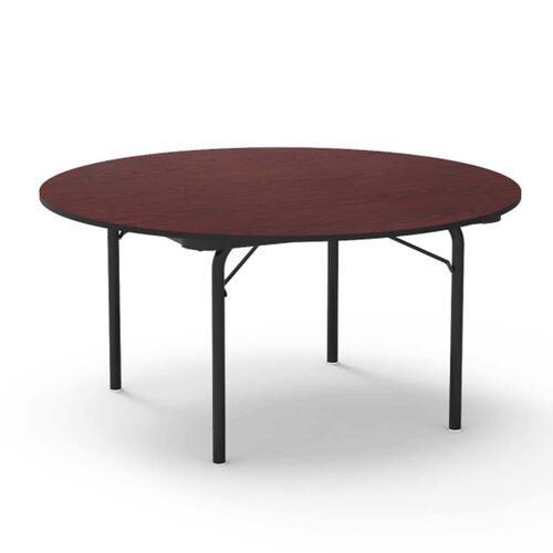 6000 Series Traditional Round Folding Laminate Table with Walnut Top and Black Frame - 60