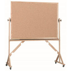 Reversible Free Standing Natural Pebble Grain Cork Bulletin Board with Red Oak Frame - 48