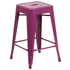 """Commercial Grade 24"""" High Backless Purple Indoor-Outdoor Counter Height Stool"""