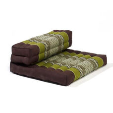 Dhyana Meditation Cushion with Built in Bolster - Sage and Brown