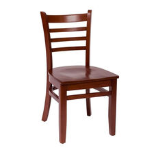 Burlington Mahogany Wood Ladder Back Chair - Wood Seat