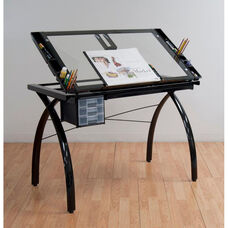 Futura Clear Tempered Glass and Steel Craft Station with Adjustable Angle Top - Black