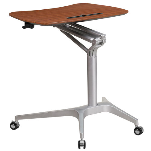 Our Mobile Sit-Down, Stand-Up Mahogany Computer Ergonomic Desk with 28.25