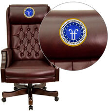 Embroidered High Back Traditional Tufted Burgundy Leather Executive Swivel Chair with Headrest and Arms