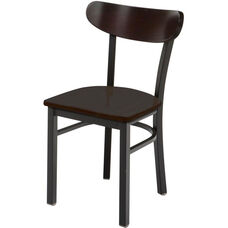 3300 Series Square Steel Frame Armless Cafe Chair with High Curved Wood Back and Wood Seat