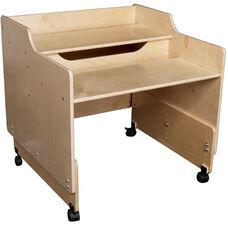 Contender Mobile Wooden Computer Desk - Assembled - 30