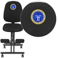 Embroidered Mobile Ergonomic Kneeling Posture Office Chair with Back in Black Fabric