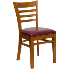 Cherry Finished Ladder Back Wooden Restaurant Chair with Burgundy Vinyl Seat