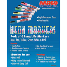Neon Dry Erase Markers - Set of 6 Vivid Colors