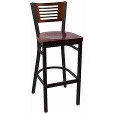 Jones River Series Wood Back Armless Barstool with Steel Frame and Wood Seat - Walnut