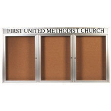 3 Door Indoor Illuminated Enclosed Bulletin Board with Header and Aluminum Frame - 36
