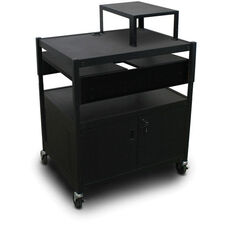 Spartan Series Adjustable Media Projector Cart and Cabinet with Two Pull-Out Side-Shelves and Expansion Shelf - Black