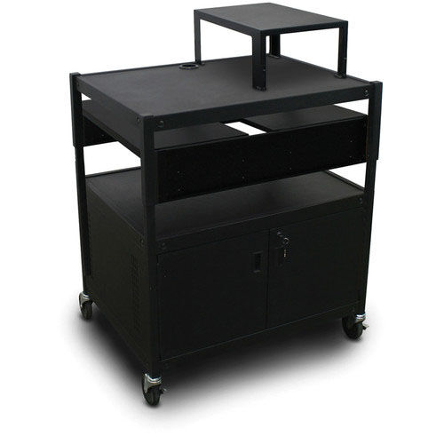 Our Spartan Series Adjustable Media Projector Cart and Cabinet with Two Pull-Out Side-Shelves and Expansion Shelf - Black is on sale now.
