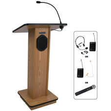 Elite Wireless 150 Watt Sound and Microphone Lectern - Oak Finish - 24
