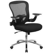 Mid-Back Black Mesh Executive Swivel Chair with Height Adjustable Flip-Up Arms