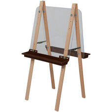 Double Sided Adjustable Art Easel with Acrylic and Brown Trays - 24