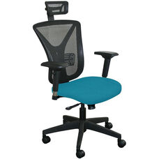 Fermata Executive Mesh Chair with Black Base and Headrest - Teal Fabric