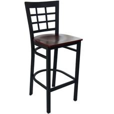 Advantage Window Pane Back Metal Bar Stool - Mahogany Wood Seat