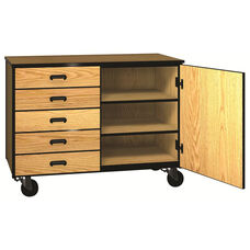 Denali 1000 Series Mobile Low Storage Cabinet with Doors, 5 Half-width Drawers, and 1 Adjustable Shelf