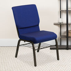 HERCULES™ Series Auditorium Chair - Chair with Storage - 19inch Wide Seat - Navy Fabric/Gold Vein Frame