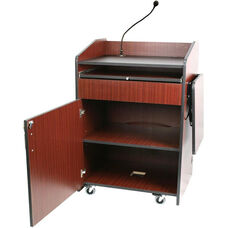Multimedia Wired 150 Watt Sound Presentation Podium - Mahogany Finish - 33