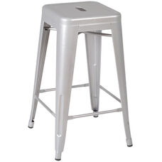 Rivet Stackable 26''H Backless Metal Stool - Grey