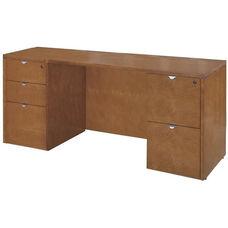 OSP Furniture Kenwood Hardwood Veneer Double Pedestal Kneespace Credenza with Curved Metal Drawer Pulls