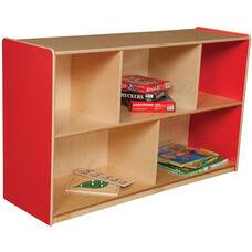 Wooden 5 Compartment Single Mobile Storage Unit - Strawberry - 48