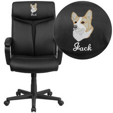 Embroidered High Back Black LeatherSoft Executive Swivel Office Chair with Slight Mesh Accent and Arms