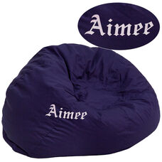 Personalized Oversized Solid Navy Blue Bean Bag Chair for Kids and Adults